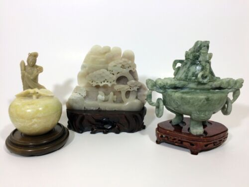 LRG CHINESE JAPANESE JADE SOAPSTONE CARVED CARVINGS STATUES CENSER SCHOLAR LOT