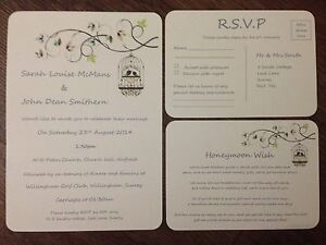 PERSONALISED WEDDING DAY EVENING INVITATIONS Rsvp Card Set WITH ENVELOPES