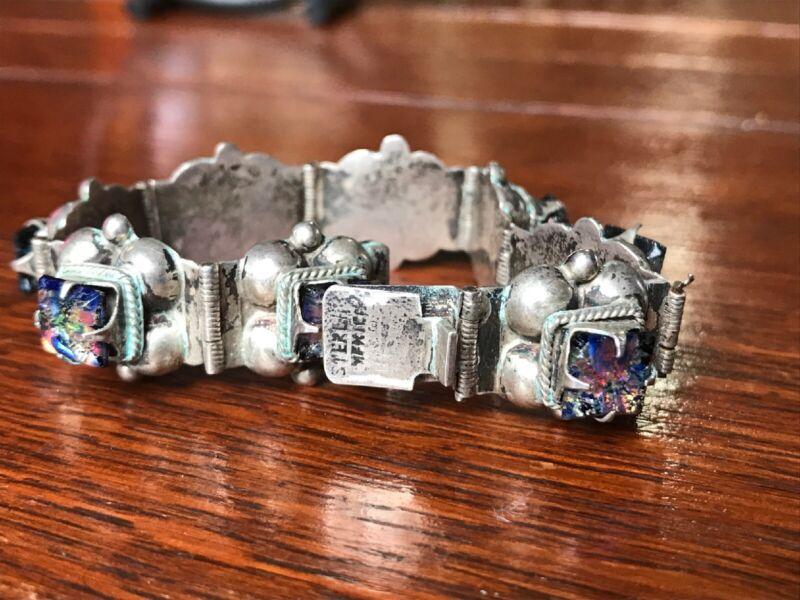 Mexico .925 Sterling Silver And Stone Bracelet