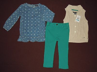 NWT Nautica Toddler Girls 3-Piece Set Oufit Fall Winter Clothes size 24 Months