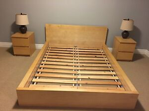 IKEA queen Malm bed Frame and night stands