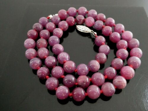 Natural Pink Ruby Round 7.2mm Madagascar Hand Knotted Gemstone 925 Necklace 19""