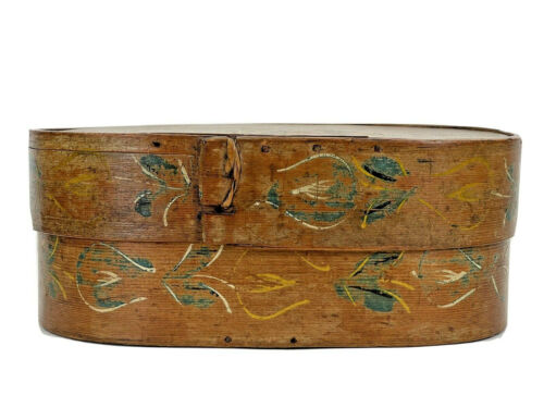 EARLY 1872 C PAINTED BRIDES PANTRY WOOD BOX, HAT BOX Folk Art w/ letter, Chicken
