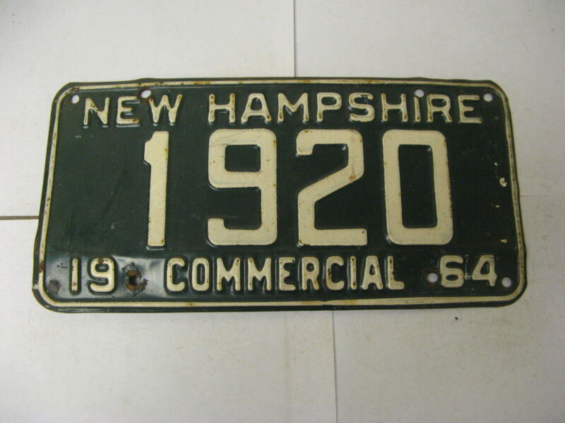 1964 64 New Hampshire NH License Plate 1920 Commercial