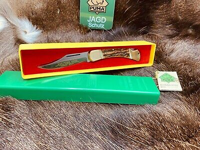 1978 Vintage Puma 21 0905 Duke Stag Handle Knife - Mint In Green / Yellow Box