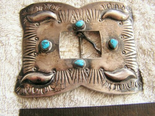 Navajo sterling silver and turquoise belt buckle c-1920