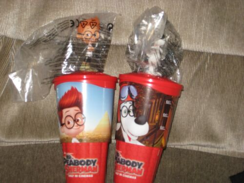 Set of 2 mint figural cups featuring Sherman and Mr Peabody from Bullwinkle show