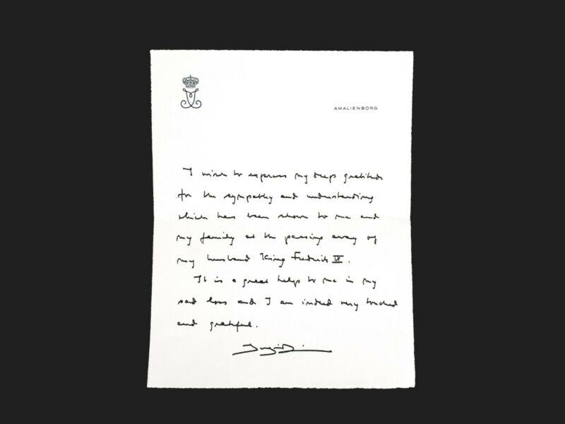 Ingrid Sweden Queen Denmark Signed Document Royal Letter Manuscript Frederick IX