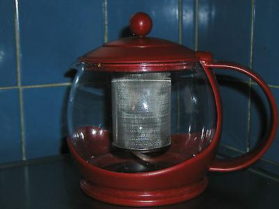 Red PYREX TEA INFUSER Steeper Kettle - glass. plastic. metal basket