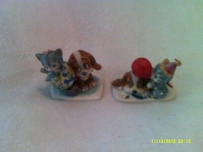 Vintage Norcross Collectible Puppy & Kitten Porcelain Bisque Figurines