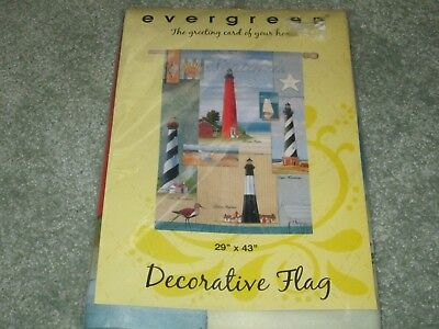 "NEW EVERGREEN ""SOUTHERN LIGHTHOUSE"" DECORATIVE HOUSE FLAG 29"" x 43"""