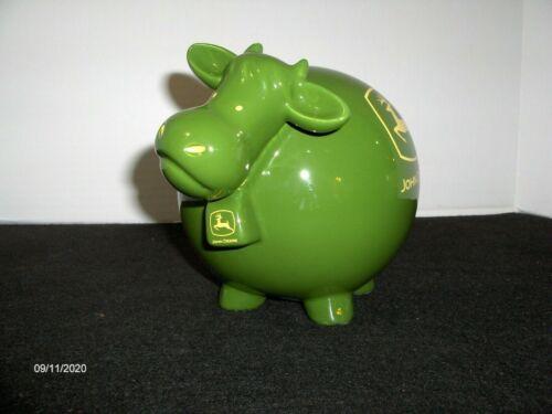 Ceramic John Deere Green Cow Piggy Bank ~NIB~
