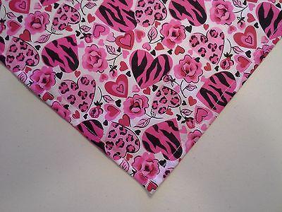 Dog Bandana/Scarf Tie On/Slide On Roses Hearts Custom Made by Linda XS S M (Tie Bandana Dog)