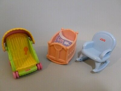 Fisher Price My First Dollhouse Baby Nursery Crib Blanket Stroller Rocking Chair