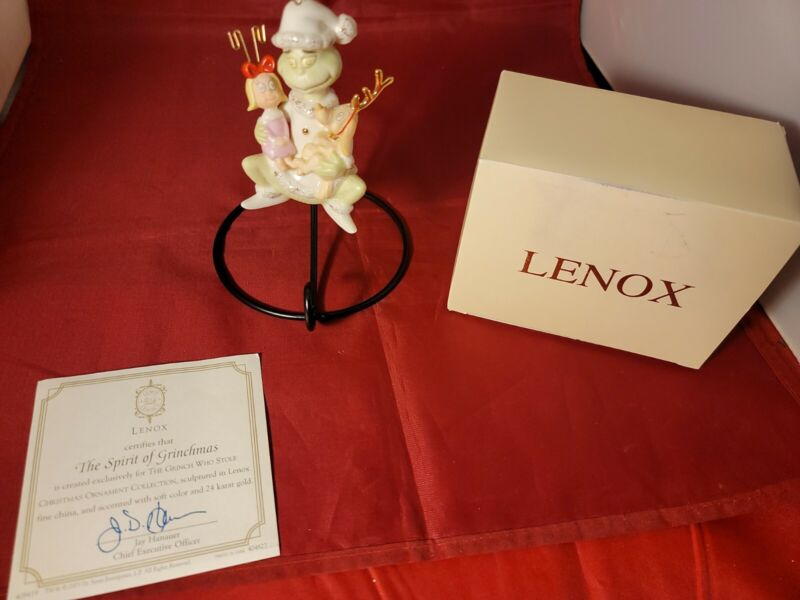 LENOX THE SPIRIT OF GRINCHMAS Grinch Ornament in BOX with COA Max Cindy Lou