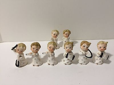 VINTAGE SET OF 8 CHRISTMAS FIGURINES PLAYING MUSICAL INSTRUMENTS