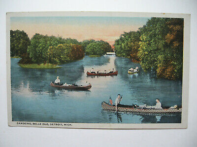 1920 era Canoeing, Belle Island, Detroit, Michigan, Postcard
