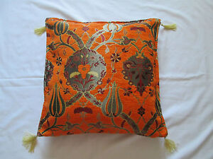Turkish Orange Red Tapestry Floral Tulip Tassel Chenille Cushion Cover