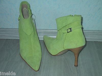 Leder Ankle Boot Spitze (Sexy spitze STIEFELETTE / Ankle Boot NEU Gr. 42 in lindgrün & Nubuk Leder)