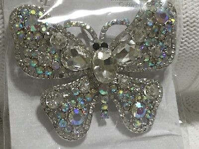 """BEAUTIFUL BOLD JEWELED BUTTERFLY CLOTHES PIN//BROACH/PENDANT  (3.0"""" X 1.75"""") - Clothespin Butterfly"""