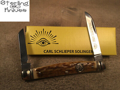 """3-3/8"""" Clsed Carl Schlieper Solingen Germany 2-Blade Stag Congress Folding Knife"""