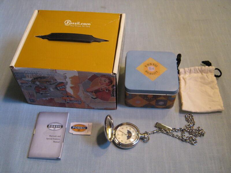 FOSSIL SILVER SUN DIAL POCKET WATCH IN TIN BOX IN CARDBOARD BOX Mint