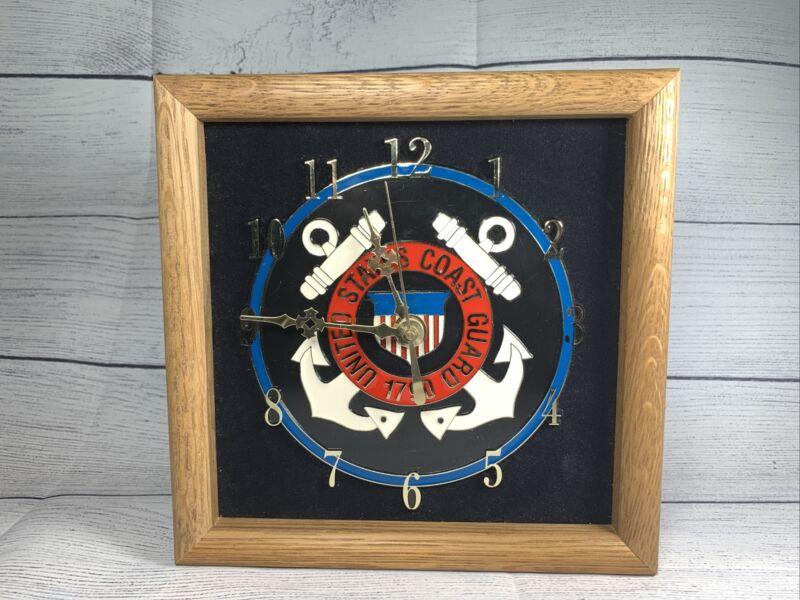 """American Heroes United States Coast Guard 1790 Oak Frame Wall Clock 9"""" X 9"""""""