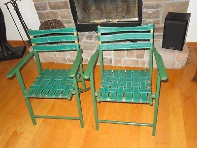Vintage Web Webbed Chairs Wood Frame Green Mid Century Modern Stadium Seat