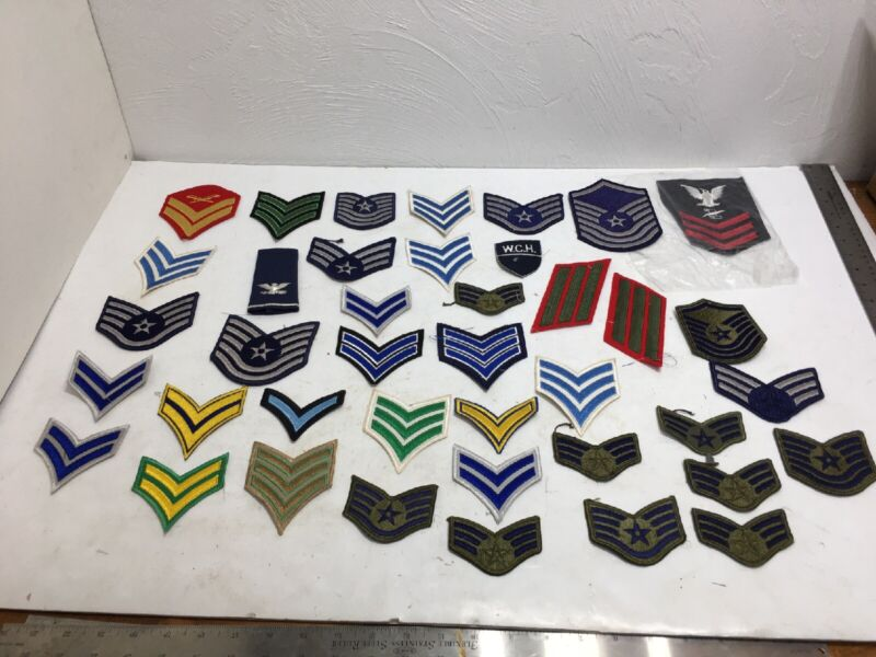 Vtg Military Army Navy Insignia Stripes Stars Flags Wide Mix Patch Lot 40 Total