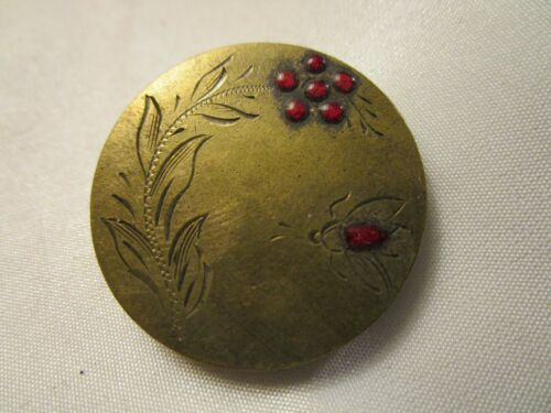"""ANTIQUE BUTTON~Etched brass plant/ insect button with red glass droplets, 1 1/8"""""""