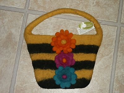 Midwest Tote - NWT Midwest CBK Wool Bag Purse Handbag Bumble Bee & 3 Floral Design