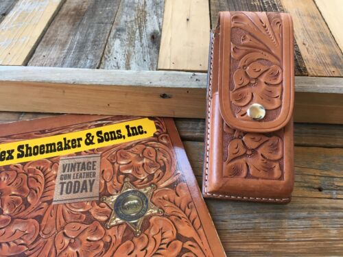 Vintage Tex Shoemaker Brown Leather Multi Use Case Hand Floral Carved