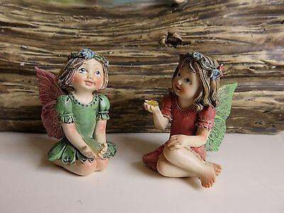 "2 Miniature Fairies Village Ornaments Figurines Set Two 1.25"" H. Resin New"