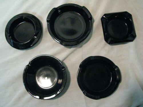 LOT of 5 Vintage Black Amethyst  ASHTRAYS