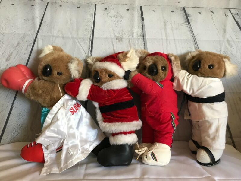 "Vintage 1984 Bear Buddies 14"" Plush Koala Hugger Real Fur Ears Lot of 4"