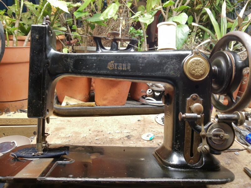 Very Rare 1886 Grand National Sewing Machine with attachments, Heavy Duty,Works