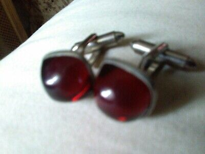 Vtg Cufflinks Art Deco Square Rounded Red Face Cuff Links