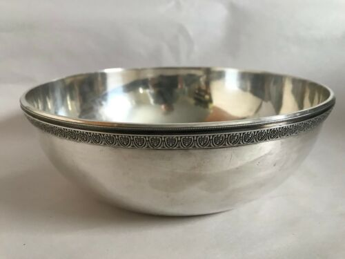 Antique German Solid 800 Silver Large Round Bowl 609 Grams