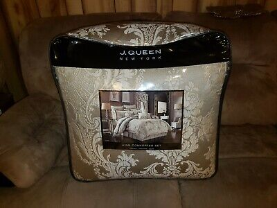 NEW NIP Celeste by J Queen New York 3 PIECE KING SIZE COMFORTER SET TAUPE IVORY