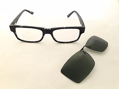 Zenni Optical 502031 Acetate Frame Polarized Snap On Sunlens Rx Eyeglasses New