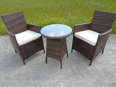 Garden Furniture - BISTRO GARDEN RATTAN WICKER OUTDOOR DINING FURNITURE SET TABLE CHAIRS 2 TWO