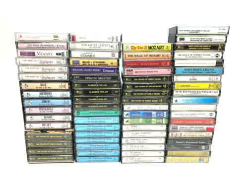 Lot of 70 Vintage Music Cassette Tapes - Mozart - Bach - Beethoven