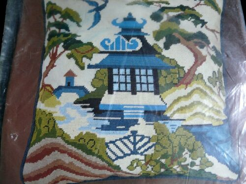 Bucilla 4150 Asian Teahouse Picture square Needlepoint Pillow Kit  Persian Wool