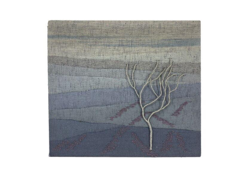 Vtg Mounted Landscape Tree Wall Hanging Woven Fiber Weaving Art Textile