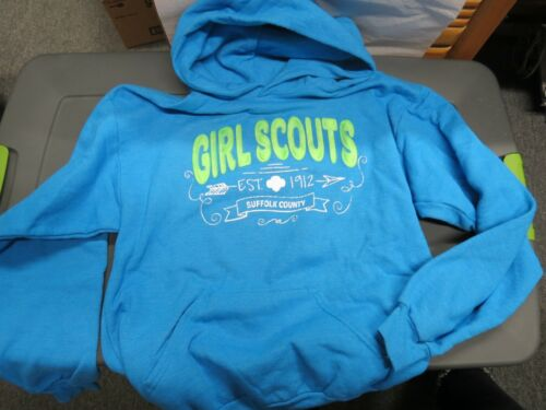 YOUTH GIRL SCOUT FASHION TURQUOISE PULL OVER SWEATSHIRT WITH HOOD X LARGE