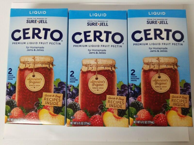 3 Boxes 6 oz each Certo Liquid Fruit Pectin Sure Jell Canning Jam New, exp 10/22