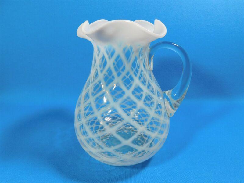"Antique White Opalescent Glass Pitcher Ruffle Edge Diamond Pattern Large 9.5"""