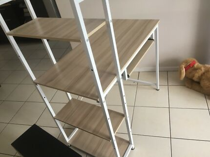 Wooden Desk with Shelves