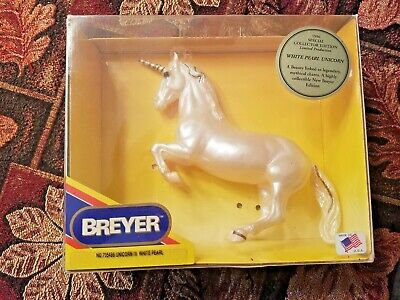 Breyer #705496 Unicorn III Semi-Gloss White Pearl with Gold Trim in box