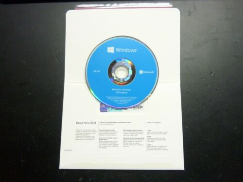 Microsoft Windows 10 Home 64bit DVD kit + Genuine License Product Key